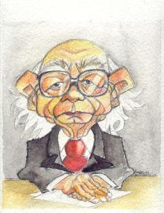 Caricatura del Premio Nobel José Saramago,uno de los firmantes del manifiesto de apoyo a Garzón