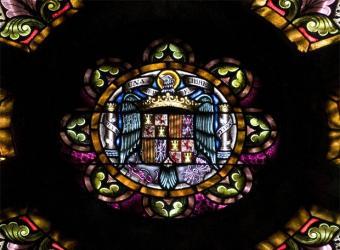 Rosetón con el escudo franquista