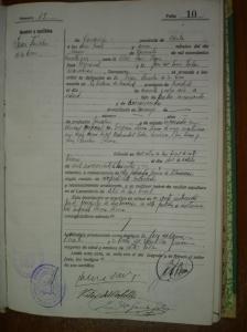 Certificado de defunción de Juan Sánchez de la Cruz