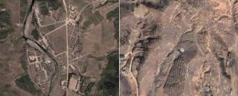 Imágenes de Google Earth de un campo de trabajo, a la izquierda, y las fosas comunes donde se enterraron a miles de personas tras la hambruna de los noventa en Corea del Norte.