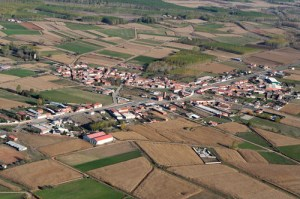 Fotografía a vista de pájaro del pueblo de Quintanilla de la Rueda