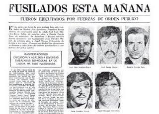 Los cinco fusilados en 1975 entre ls que se encontraba Xose Humberto Baena