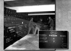 La caja 198 con los restos expoliadios de las vitimas de Aldeaseca, 1959, dentro de los columbarios de la Basílica