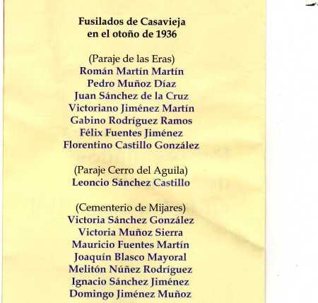 Lista de homenajeados de Casavieja y Mijares